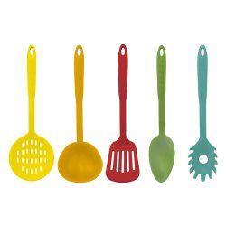 Set Juego 5 Utensilios Cocina Carol Nylon Colores