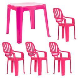 Juego de mesa y cuatro sillas Infantil Rosa