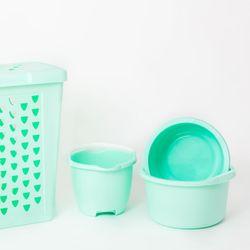 Set Laundry 60 lts + Balde + 2 Palanganas verde