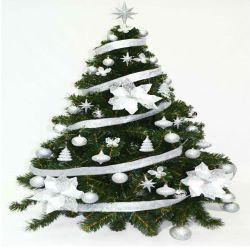 Arbol de Navidad Bariloche 1 35 Mts con Kit Plata 48 Piezas