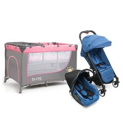 Combo Practicuna Bring 6101 Rosa + Travel System Bring 5205 Azul