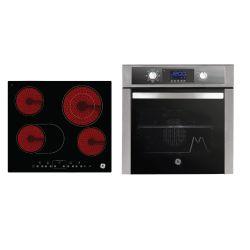 Combo GE Appliances Horno Eléctrico 60 cm Inox HEGE6054I + Anafe Eléctrico Empotrable Vitrocerámico 60 cm Negro AEGE62PV