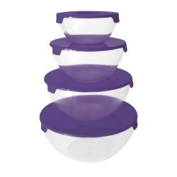 Set De 4 Bowls Carol De Plastico Apilable Con Tapa Carol