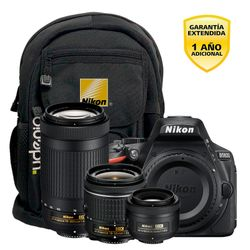 Camara Nikon D5600 DX 24.2MP Video Full HD Super Kit 3 Lentes con Mochila