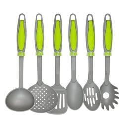 Set x 6 Utensilios Nouvelle Cuisine Nylon gris con Mango Verde 1990164
