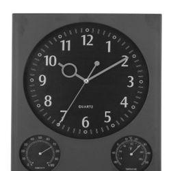 Reloj De Pared Negro Rectangular Con Temperatura Y Humedad 32 Cm