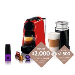 Cafetera Nespresso Essenza Mini Red + Aeroccino 3