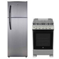 Combo GE Appliances Heladera con Freezer No frost 409Lt Acero Inox HGE450M00L + Cocina 55 CM Acero Inox CG756I