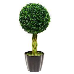 Planta Decorativa Topiario Esfera Hojas Buxus Artificial 60 cm