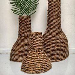 Botellon Tinaja Decorativa De Hyacinth Set X 3