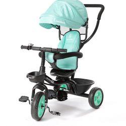 Triciclo Con Manija Direccional y asiento giratorio Rainbow Safir Verde