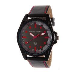 Reloj Hombre Caro Uomo malla eco cuero negro y rojo CU04 ALRD