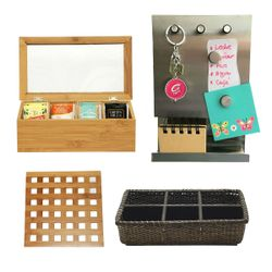 Combo Cocina Posa Fuente Bambú + Caja para Té + tablero organizador + Cesta de Ratán