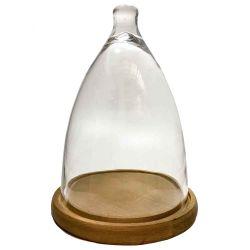 Campana De Cristal Con Base De Madera Grande 37 Cm