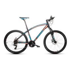 Bicicleta Mountain Bike TopMega Envoy Aluminio Rodado 26 21 Cambios Color Negro y Celeste