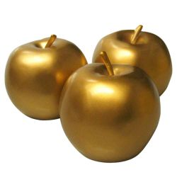 Manzanas Decorativas Color Oro 8 Cm Set X 12