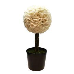 Planta Decorativa Topiario Esfera Rosas Blancas Artificial 48 cm