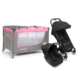 Combo Practicuna Bring 6101 Rosa + Travel System Bring 5205 Negro