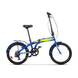 Bicicleta Plegable Top Mega Folding Rodado 20 16 Velocidades Azul Verde
