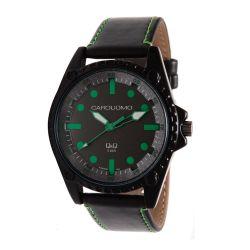 Reloj Hombre Caro Uomo malla eco cuero negro y verde CU04 ALGR