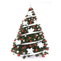 Árbol de Navidad Bariloche 1.80 Mts con Kit 72 Rojo Plata