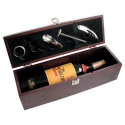 Conjunto para Vino 5 piezas con Estuche de Madera con Porta Botella Nouvelle Cuisine Acero Inoxidable 1150725
